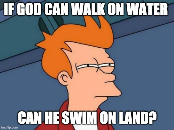 Hmmm.. |  IF GOD CAN WALK ON WATER; CAN HE SWIM ON LAND? | image tagged in memes,futurama fry | made w/ Imgflip meme maker