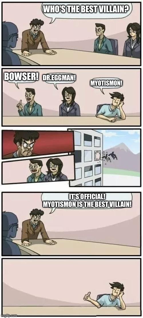 Boardroom Meeting Suggestion 2 |  WHO'S THE BEST VILLAIN? BOWSER! DR.EGGMAN! MYOTISMON! IT'S OFFICIAL! MYOTISMON IS THE BEST VILLAIN! | image tagged in boardroom meeting suggestion 2 | made w/ Imgflip meme maker