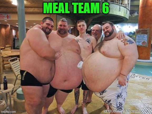 Meal Team 6 |  MEAL TEAM 6 | image tagged in seal team,fat,fat men | made w/ Imgflip meme maker