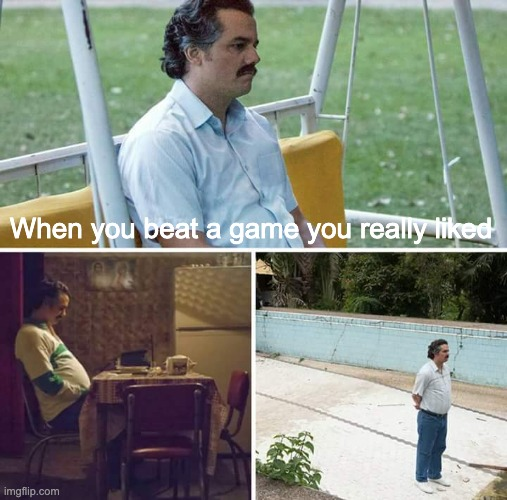 Sad Pablo Escobar Meme |  When you beat a game you really liked | image tagged in memes,sad pablo escobar | made w/ Imgflip meme maker