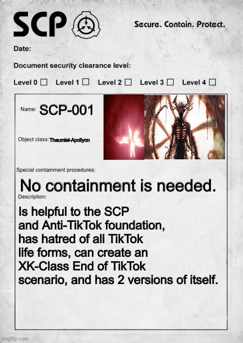 War Against Tik Tok Scp Document Memes Gifs Imgflip Scp apollyon and thaumiel classes explained maksur is another very obscure classification. imgflip