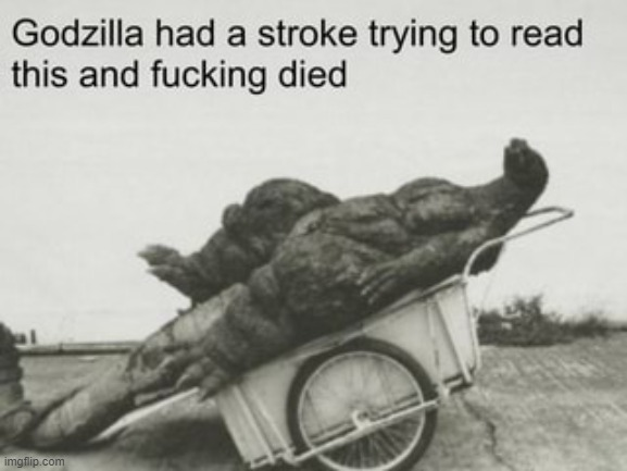 godzilla dies trying to read | image tagged in godzilla dies trying to read | made w/ Imgflip meme maker