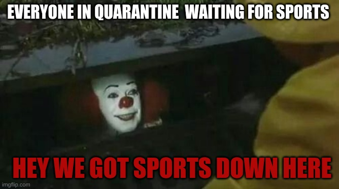 Penny wise bribing sport lovers |  EVERYONE IN QUARANTINE  WAITING FOR SPORTS; HEY WE GOT SPORTS DOWN HERE | image tagged in pennywise in sewer,quarantine,sports | made w/ Imgflip meme maker