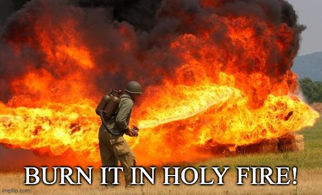 BURN IT IN HOLY FIRE! | image tagged in nope flamethrower | made w/ Imgflip meme maker