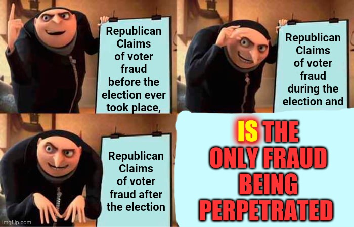Compromised |  Republican Claims of voter fraud before the election ever took place, Republican Claims of voter fraud during the election and; IS THE ONLY FRAUD BEING PERPETRATED; IS; Republican Claims of voter fraud after the election | image tagged in memes,gru's plan,trump unfit unqualified dangerous,liar in chief,lock him up,scumbag republicans | made w/ Imgflip meme maker