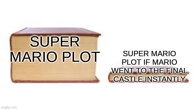Big book small book |  SUPER MARIO PLOT; SUPER MARIO PLOT IF MARIO WENT TO THE FINAL CASTLE INSTANTLY | image tagged in big book small book | made w/ Imgflip meme maker