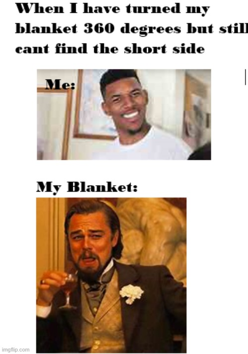 The Endless Blanket | image tagged in blanket,laughing leo,confused screaming | made w/ Imgflip meme maker