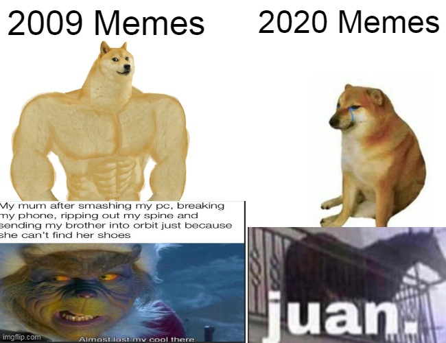 Buff Doge vs. Cheems |  2009 Memes; 2020 Memes | image tagged in memes,buff doge vs cheems | made w/ Imgflip meme maker