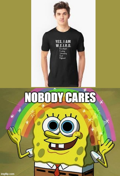 im weird, nobody cares |  NOBODY CARES | image tagged in memes,imagination spongebob,nobody cares | made w/ Imgflip meme maker