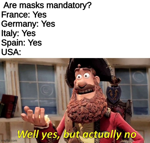 Well yes, but actually no |  Are masks mandatory? France: Yes Germany: Yes Italy: Yes Spain: Yes  USA: | image tagged in well yes but actually no | made w/ Imgflip meme maker