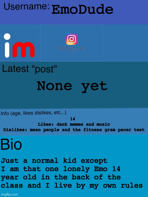 My profile page |  EmoDude; None yet; 14  Likes: dank memes and music Dislikes: mean people and the fitness gram pacer test; Just a normal kid except I am that one lonely Emo 14 year old in the back of the class and I live by my own rules | image tagged in imgflip insta | made w/ Imgflip meme maker