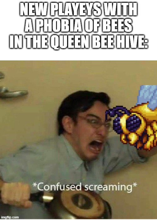 confused screaming |  NEW PLAYEYS WITH A PHOBIA OF BEES IN THE QUEEN BEE HIVE: | image tagged in confused screaming | made w/ Imgflip meme maker