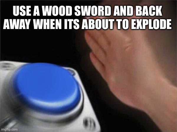 Blank Nut Button Meme | USE A WOOD SWORD AND BACK AWAY WHEN ITS ABOUT TO EXPLODE | image tagged in memes,blank nut button | made w/ Imgflip meme maker