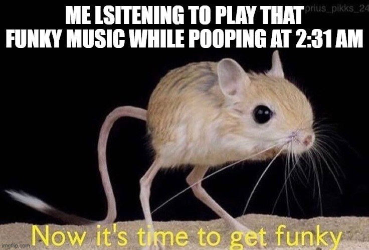 Now it's time to get funky |  ME LSITENING TO PLAY THAT FUNKY MUSIC WHILE POOPING AT 2:31 AM | image tagged in now it s time to get funky | made w/ Imgflip meme maker