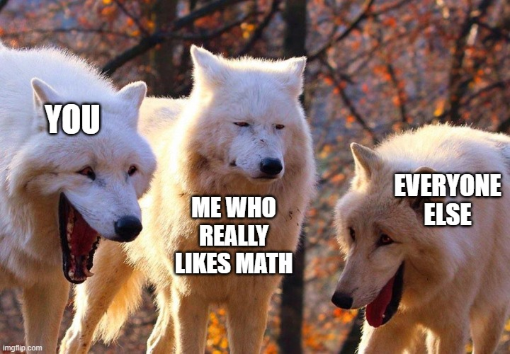 Three Wolfs | YOU EVERYONE ELSE ME WHO REALLY LIKES MATH | image tagged in three wolfs | made w/ Imgflip meme maker