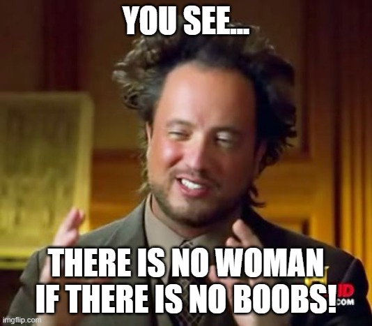 women fact |  YOU SEE... THERE IS NO WOMAN IF THERE IS NO BOOBS! | image tagged in memes,boobs,woman | made w/ Imgflip meme maker