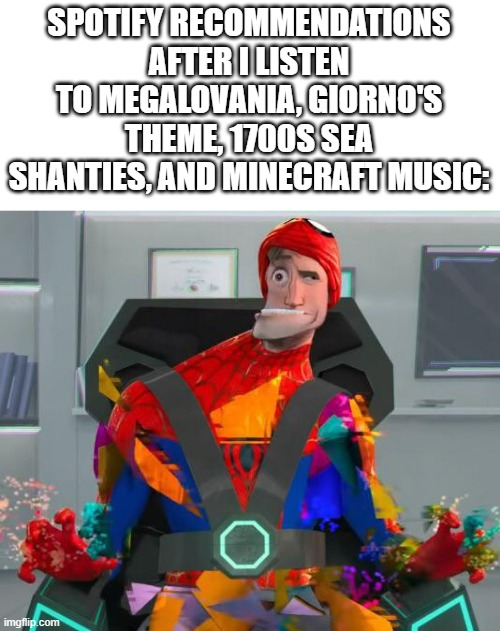 This is a long meme |  SPOTIFY RECOMMENDATIONS AFTER I LISTEN TO MEGALOVANIA, GIORNO'S THEME, 1700S SEA SHANTIES, AND MINECRAFT MUSIC: | image tagged in spiderman glitch,spotify | made w/ Imgflip meme maker