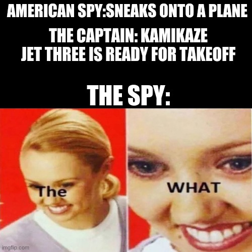 The What |  AMERICAN SPY:SNEAKS ONTO A PLANE; THE CAPTAIN: KAMIKAZE JET THREE IS READY FOR TAKEOFF; THE SPY: | image tagged in the what | made w/ Imgflip meme maker