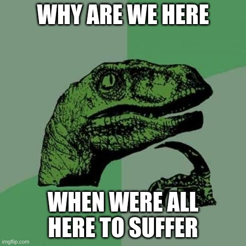 Philosoraptor Meme |  WHY ARE WE HERE; WHEN WERE ALL HERE TO SUFFER | image tagged in memes,philosoraptor | made w/ Imgflip meme maker