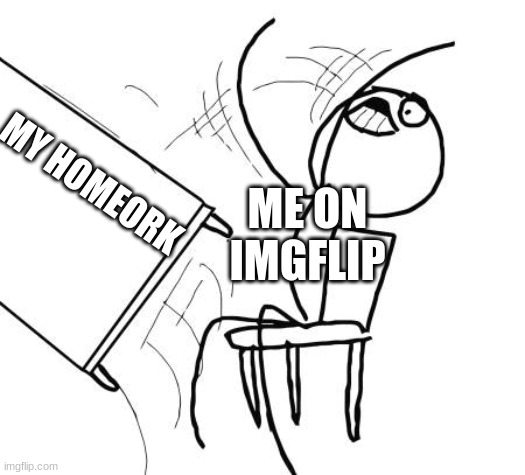 Table Flip Guy |  ME ON IMGFLIP; MY HOMEORK | image tagged in memes,table flip guy | made w/ Imgflip meme maker