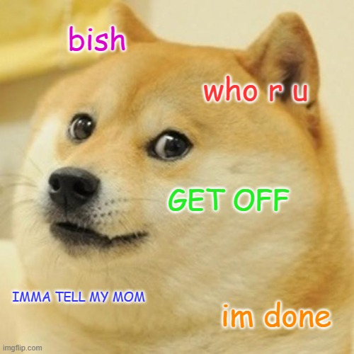 Doge |  bish; who r u; GET OFF; IMMA TELL MY MOM; im done | image tagged in memes,doge | made w/ Imgflip meme maker