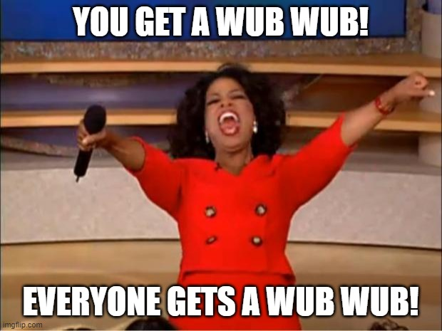 Dubstep meme from 2012 or something |  YOU GET A WUB WUB! EVERYONE GETS A WUB WUB! | image tagged in memes,oprah you get a,2012,dubstep | made w/ Imgflip meme maker