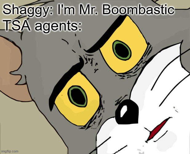 Unsettled Tom |  Shaggy: I'm Mr. Boombastic; TSA agents: | image tagged in memes,unsettled tom,shaggy,music,airport,bomb | made w/ Imgflip meme maker