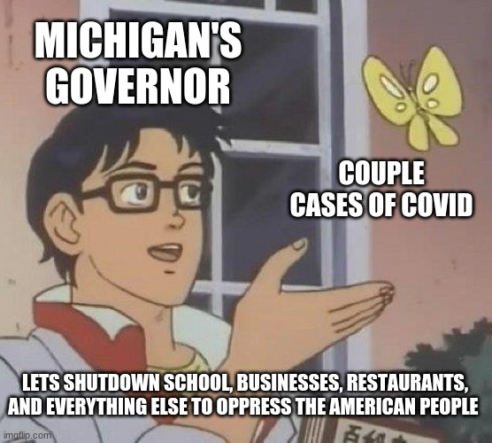 Im mad |  MICHIGAN'S GOVERNOR; COUPLE CASES OF COVID; LETS SHUTDOWN SCHOOL, BUSINESSES, RESTAURANTS, AND EVERYTHING ELSE TO OPPRESS THE AMERICAN PEOPLE | image tagged in memes,is this a pigeon | made w/ Imgflip meme maker