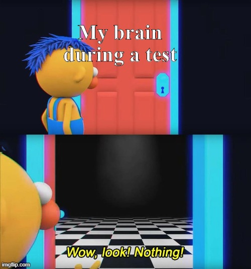 Wow look nothing! |  My brain during a test | image tagged in wow look nothing | made w/ Imgflip meme maker