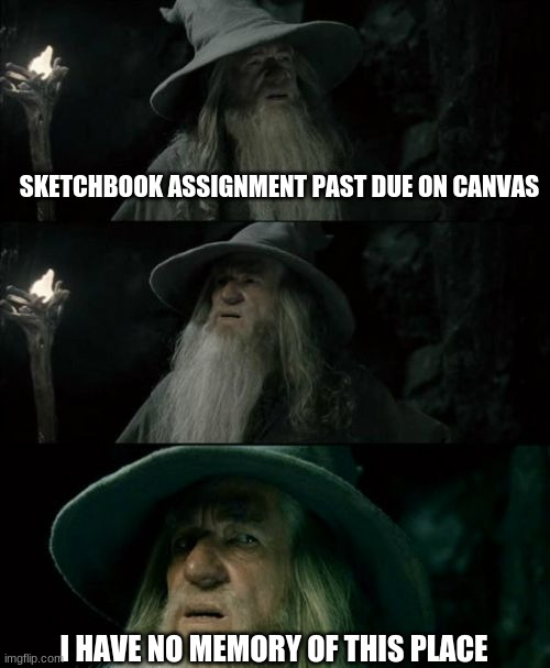 Gandalf_sketchbook meme |  SKETCHBOOK ASSIGNMENT PAST DUE ON CANVAS; I HAVE NO MEMORY OF THIS PLACE | image tagged in memes,confused gandalf | made w/ Imgflip meme maker