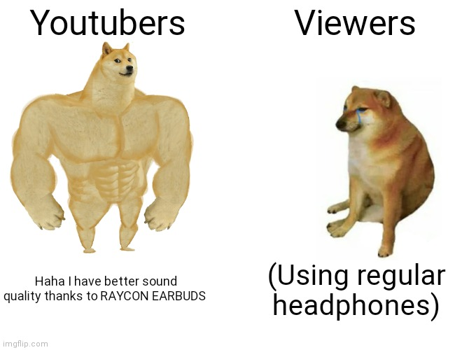 Buff Doge vs. Cheems Meme |  Youtubers; Viewers; Haha I have better sound quality thanks to RAYCON EARBUDS; (Using regular headphones) | image tagged in memes,buff doge vs cheems | made w/ Imgflip meme maker