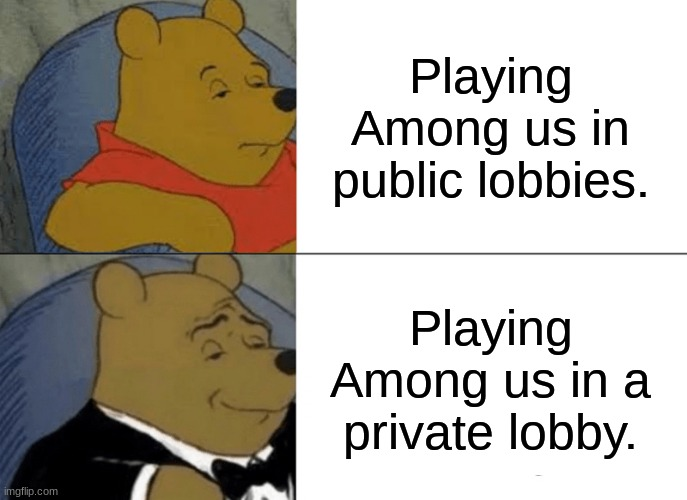 Tuxedo Winnie The Pooh Meme |  Playing Among us in public lobbies. Playing Among us in a private lobby. | image tagged in memes,tuxedo winnie the pooh | made w/ Imgflip meme maker