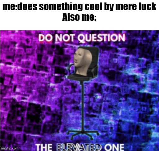 do not question me peasants |  me:does something cool by mere luck Also me: | image tagged in do not question the elevated one | made w/ Imgflip meme maker