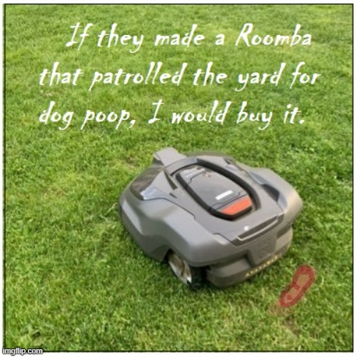 New Improved Roomba | image tagged in dog poop,roomba,vacuum,cleaning,yard work | made w/ Imgflip meme maker
