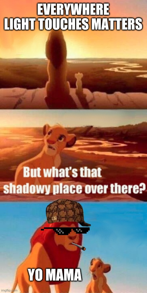 yo mama |  EVERYWHERE LIGHT TOUCHES MATTERS; YO MAMA | image tagged in memes,simba shadowy place | made w/ Imgflip meme maker