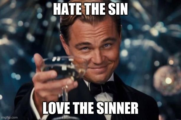 Leonardo Dicaprio Cheers |  HATE THE SIN; LOVE THE SINNER | image tagged in memes,leonardo dicaprio cheers | made w/ Imgflip meme maker