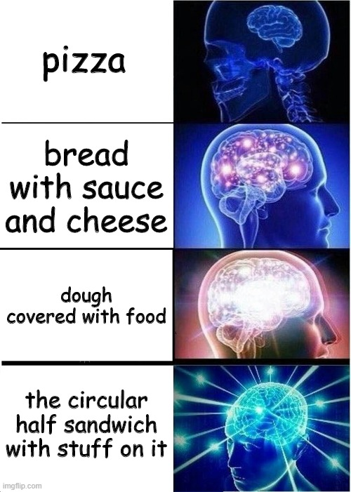 richard pizza |  pizza; bread with sauce and cheese; dough covered with food; the circular half sandwich with stuff on it | image tagged in memes,expanding brain,the amazing world of gumball | made w/ Imgflip meme maker