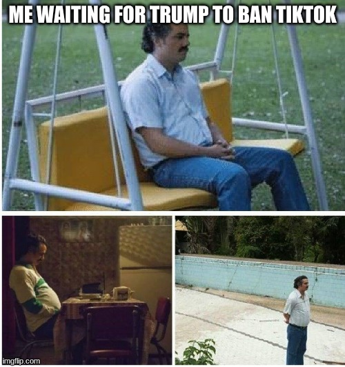 do away with it |  ME WAITING FOR TRUMP TO BAN TIKTOK | image tagged in narcos waiting | made w/ Imgflip meme maker