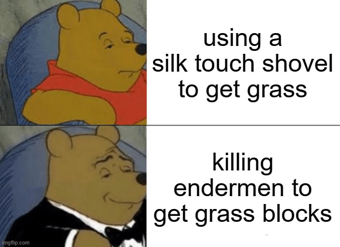 litteraly |  using a silk touch shovel to get grass; killing endermen to get grass blocks | image tagged in memes,tuxedo winnie the pooh | made w/ Imgflip meme maker