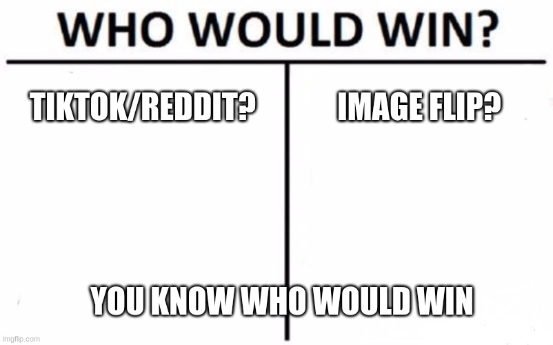 Who would win? (Imageflip) |  TIKTOK/REDDIT? IMAGE FLIP? YOU KNOW WHO WOULD WIN | image tagged in memes,who would win | made w/ Imgflip meme maker