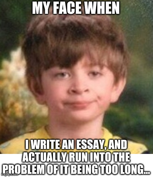 my face when |  MY FACE WHEN; I WRITE AN ESSAY, AND ACTUALLY RUN INTO THE PROBLEM OF IT BEING TOO LONG... | image tagged in annoyed face | made w/ Imgflip meme maker