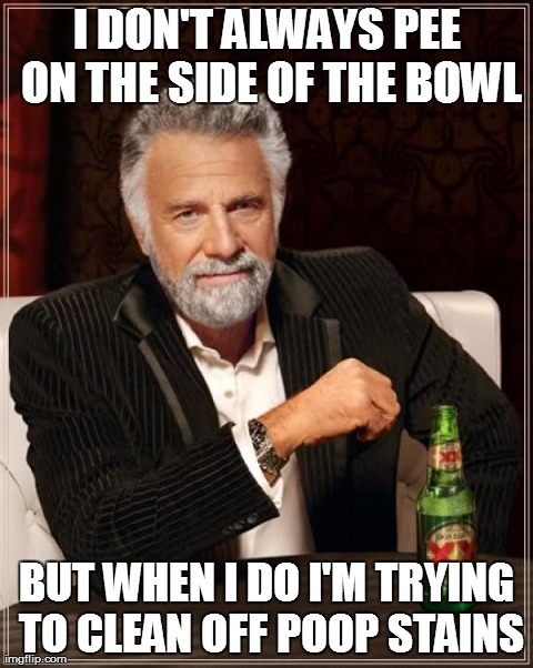 The Most Interesting Man In The World | I DON'T ALWAYS PEE ON THE SIDE OF THE BOWL BUT WHEN I DO I'M TRYING TO CLEAN OFF POOP STAINS | image tagged in memes,the most interesting man in the world | made w/ Imgflip meme maker