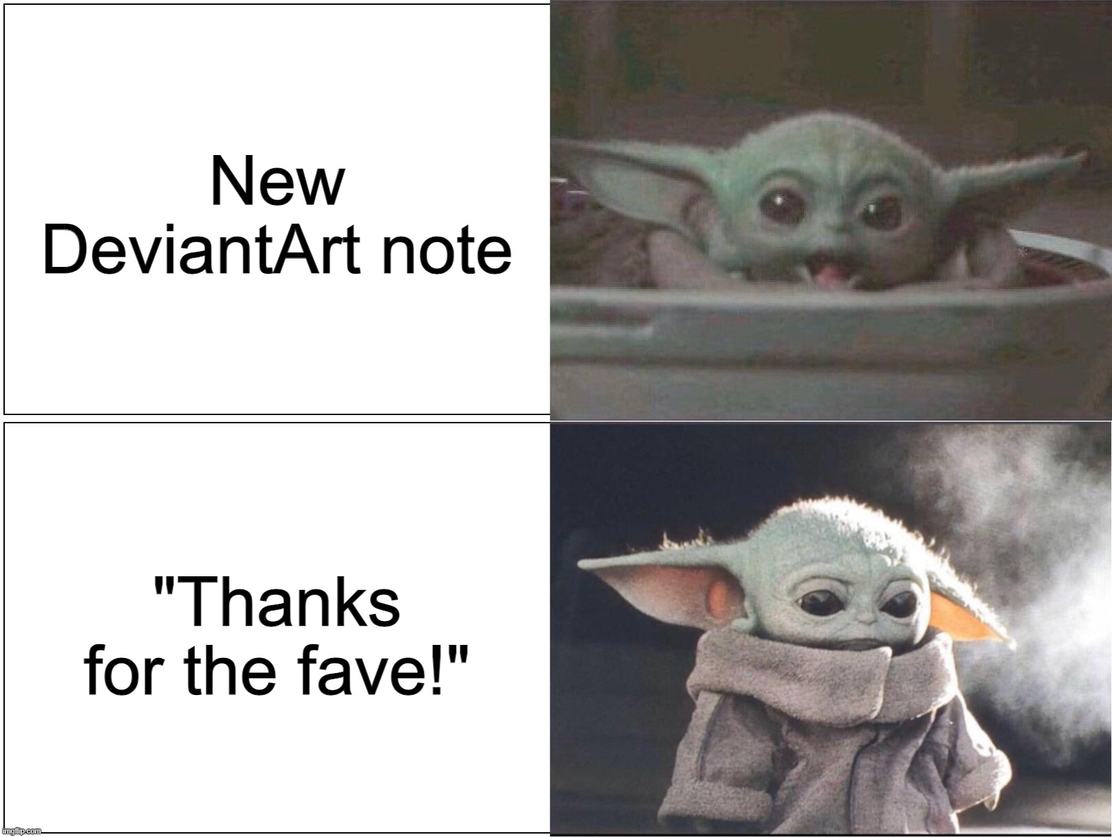 Baby Yoda Happy Then Sad Imgflip