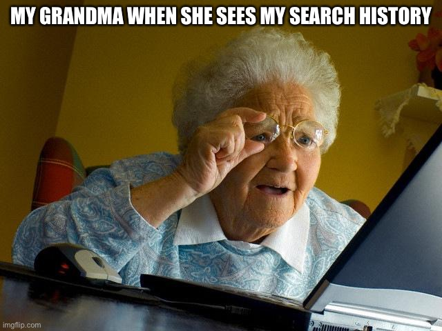 Grandma Finds The Internet Meme |  MY GRANDMA WHEN SHE SEES MY SEARCH HISTORY | image tagged in memes,grandma finds the internet | made w/ Imgflip meme maker
