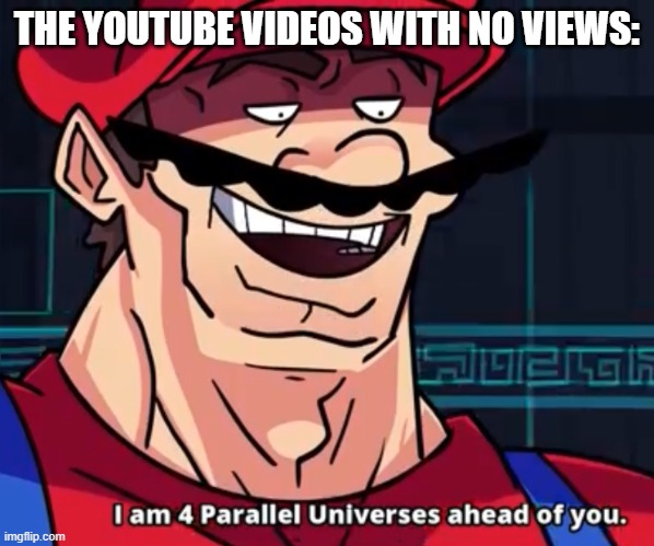 I Am 4 Parallel Universes Ahead Of You | THE YOUTUBE VIDEOS WITH NO VIEWS: | image tagged in i am 4 parallel universes ahead of you | made w/ Imgflip meme maker