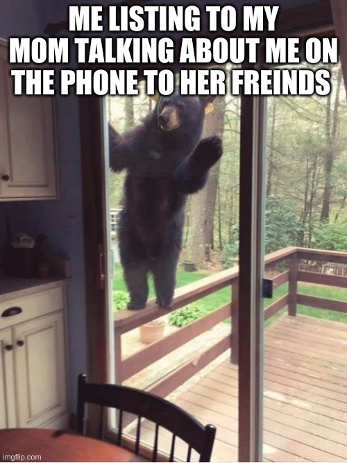 Bear looking in window |  ME LISTING TO MY MOM TALKING ABOUT ME ON THE PHONE TO HER FRIENDS | image tagged in bear looking in window | made w/ Imgflip meme maker