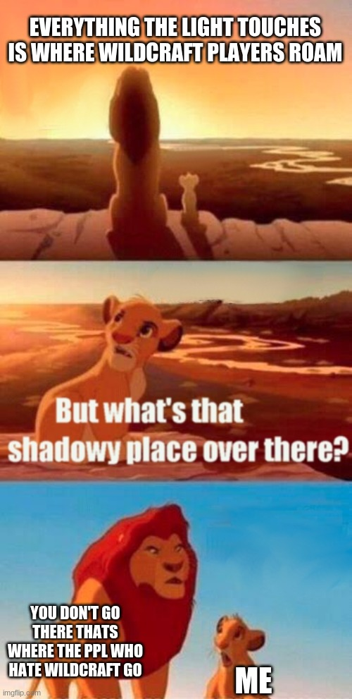 listen to simba |  EVERYTHING THE LIGHT TOUCHES IS WHERE WILDCRAFT PLAYERS ROAM; YOU DON'T GO THERE THATS WHERE THE PPL WHO HATE WILDCRAFT GO; ME | image tagged in memes,simba shadowy place | made w/ Imgflip meme maker