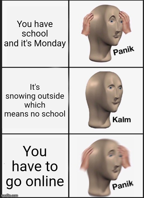 Why oh why world |  You have school and it's Monday; It's snowing outside which means no school; You have to go online | image tagged in memes,panik kalm panik | made w/ Imgflip meme maker