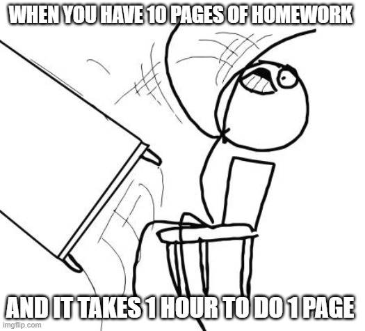 Table Flip Guy Meme |  WHEN YOU HAVE 10 PAGES OF HOMEWORK; AND IT TAKES 1 HOUR TO DO 1 PAGE | image tagged in memes,table flip guy | made w/ Imgflip meme maker