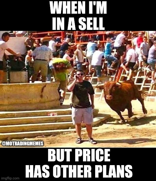 Forex Trading Price Reversal |  WHEN I'M IN A SELL; @MOTRADINGMEMES; BUT PRICE HAS OTHER PLANS | image tagged in bull blindside,forex,forex market,trading,forex trading,bullish | made w/ Imgflip meme maker
